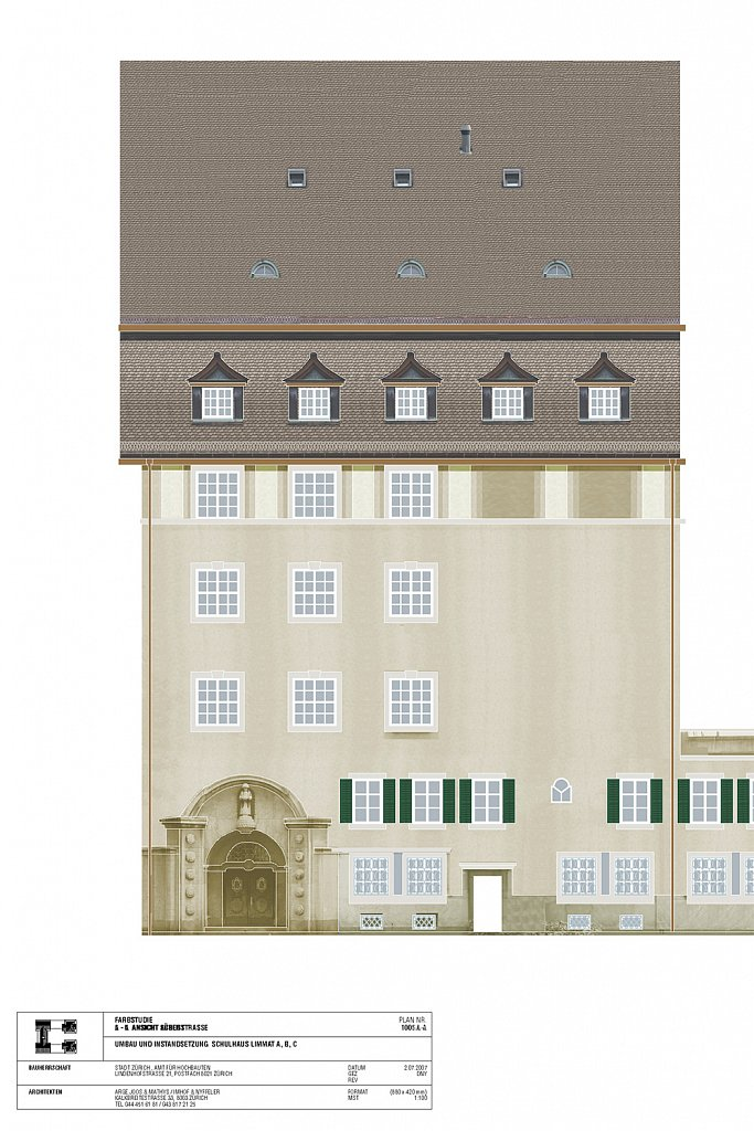 Farbstudie Umbau Schulhaus Limmat ABC