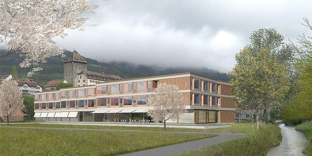 Aussenbild Altersheim Maienfeld (Roman Singer Architekt)