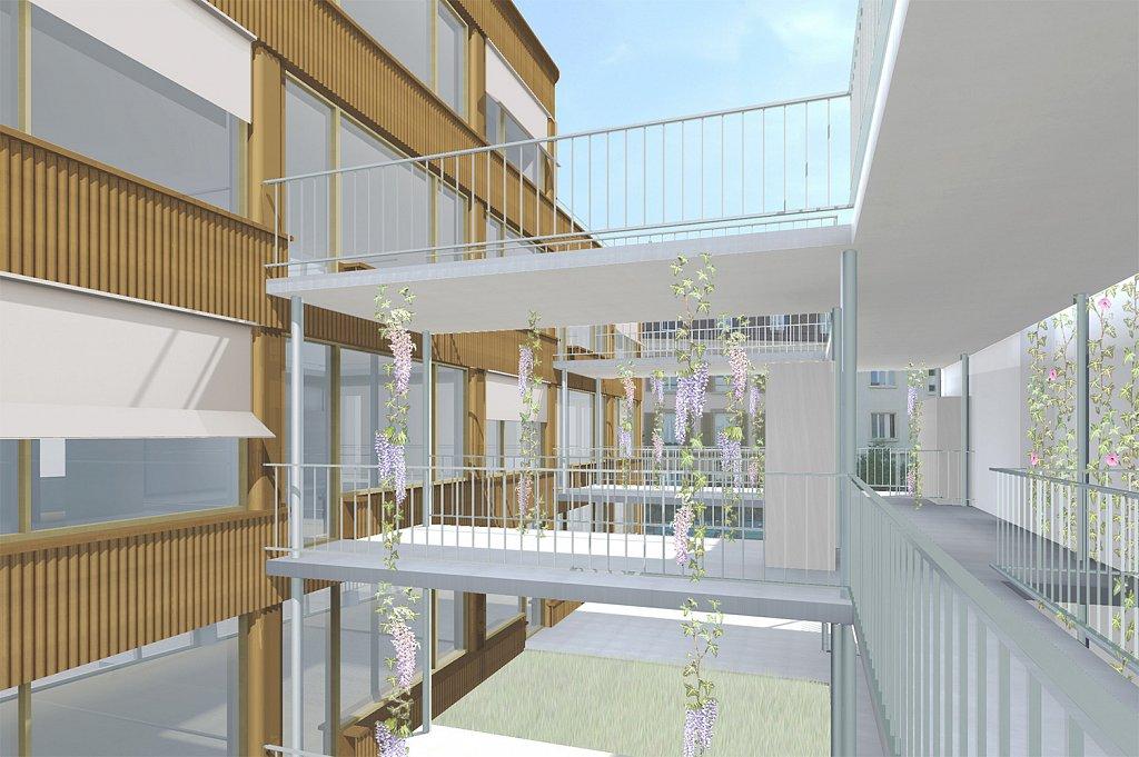 Hofbild Centralweg (Jomini Zimmermann Architekten)